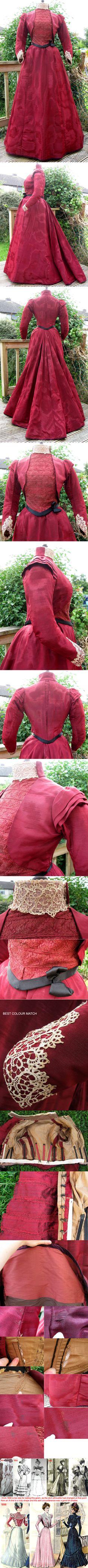 Dark red silk moiré winter walking or reception/day dress, 1891-95.