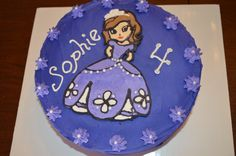 """Sophia the First cake -- hand decorated using the """"coloring book method"""""""