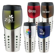 "QNSTF-FPRPW  16 Oz. Space Ball Tumbler Mug  Stainless steel shell with metallic color accents, matching color rubber texture dot grip, double wall insulation and plastic liner. Plastic lid with slide lock prevents spills. Non-slip bottom. Not microwave or dishwasher safe.  8 1/2"" H x 2 3/4"" Diameter     As low as $8.99  1 color 1 location   Contact dan.dour@dbincorporated.com for details"