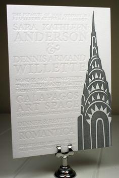 Urban Wedding - Blind Emboss Letterpress NY Wedding Invitation by LaBelleVieDesign