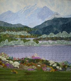 "My Mountain, 36 x 41"", original landscape quilt by ElsieQuilts at Etsy"