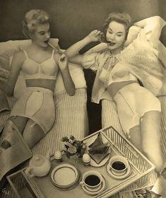 1954 Warner's Bras & Girdles- that's what made those ladies sooo fly. Gravity defying foundation undergarments. Breakfast In Beds, Vintage Lingerie, Girdles, Vintage Vanities, 1954 Warner, Lingerie Vintage, Warner Bras, Coffee Time, Retro Vintage