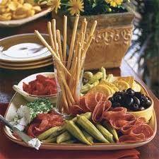 Antipasto Platter - I like how the breadsticks look