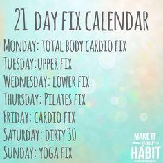 21 Day Fix...Workout Agenda!!! www.beachbodycoach.com/ANNANICOLE626 Click the link under my picture Shop Team Beach Body