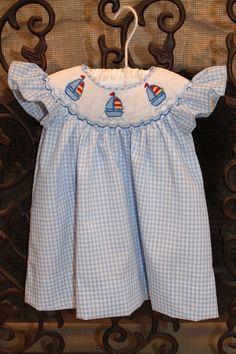 Smocked sail boat angel sleeve dress
