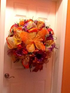 Deco Mesh Butterfly Wreath by WreathsEtc on Etsy, $125.00