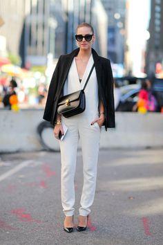 The blonde salad in chic white jumpsuit & black tuxedo blazer #nyfw | Street Style New York #Fashion Week Spring 2014 #spring2014