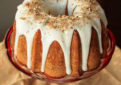 Bourbon pecan pound cake with bourbon glaze