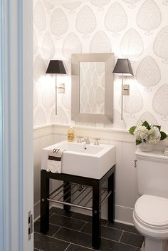 Cool wallpaper in this bathroom | Julie Nightingale design via simply seleta