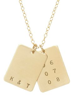 Rectangle initials and date tag necklace: Hand-made in Anna Bee's California studio, customize the tags with your initials and either your anniversary date or your kids' birthdays.