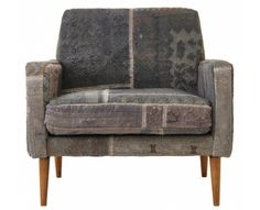 Thomas chair, upholstered with wool/cotton patchwork rugs
