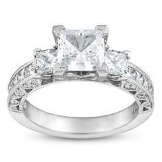 Tacori Platinum Ladies Engagement Ring With Round And Princess Diamonds