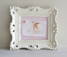 MAGNET BOARD Picture Frame Pink White Dot Nursery Decor Polkadot Baby Shower Decoration Shabby Chic Ornate Wedding Ivory Unique Gift. $52.00, via Etsy.