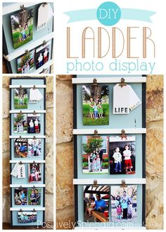 DIY Ladder Photo Display #3MDIY | Positively Splendid {Crafts, Sewing, Recipes and Home Decor}