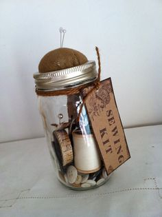 Ball jar pin cushion vintage supplies sewing kit