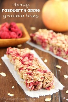 An easy recipe for healthy Chewy Raspberry Apple Granola Bars! I am definitely testing these as a breakfast option for my Shrinking On a Budget Meal Plan
