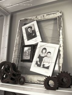 Old window and string picture frame by Funky Junk Interiors (this pin leads to a TON of old window features and a themed link party)