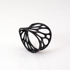 1 layer twist ring  black 3d printed nylon plastic by nervoussystem