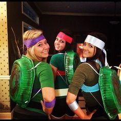Teenage Mutant Ninja Turtles: Be creative with your pals and spray paint disposable aluminum baking trays to use as your shells for these Teenage Mutant Ninja Turtles costumes. Dress up in green, wear the right color bands, and you'll get a uniquely homemade group costume that people will be raving about.  Source: Instagram user macyymayy