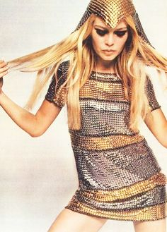 #styleicon #modcloth Brigitte glittering like gold in her modern metallic dress