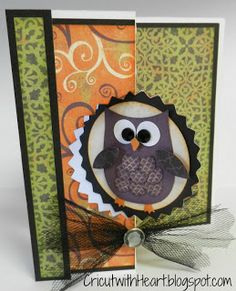 handmade card from Cricut with Heart: Halloween Swing Card ... cute cut out owl on circle swing element ... patterned papers to match ...