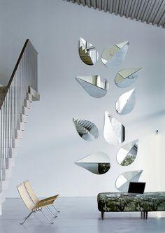Wall-mounted #mirror SPRING by Gallotti   #design Ricardo Bello Dias #interiors #staircase