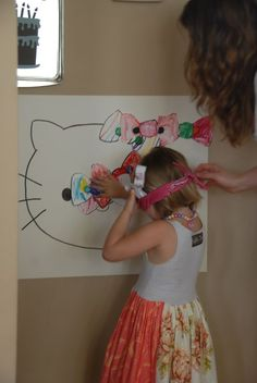 """""""Pin the Bow on Hello Kitty"""" game, but first, the children had to decorate their paper bows and cut them out!! @Susan Caron Hogg Hartman For Lyndsay's Birthday"""