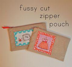 fussy cut zipper pouch