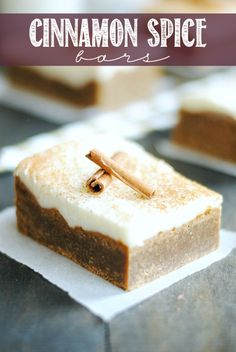 Cinnamon Spice Bars will fill your home and belly with the smells and tastes of Fall! Not to mention the amazing cream cheese frosting that ...