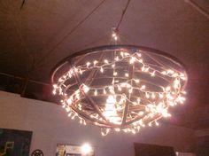 Papsan chair chandelier. Fun idea!