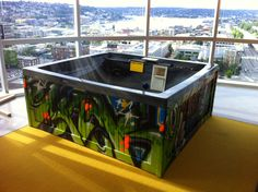 Hot Tub with a view painted by #Weirdo for #Facebook Seattle offices!  #graffiti #spraypaint #hack