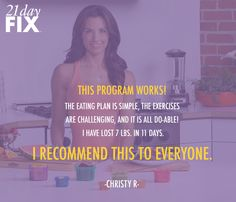 I LOVE this program!  The workouts are 30 minutes and the meal plan has you eating real food without paying a ton of $$ http://soreyfitness.com/fitness/21-day-fix-autumn-calabrese/