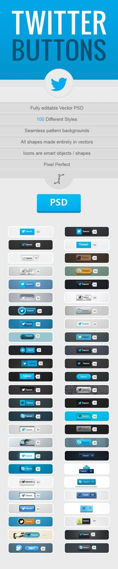600 Downloadable Twitter-Buttons #Infographic