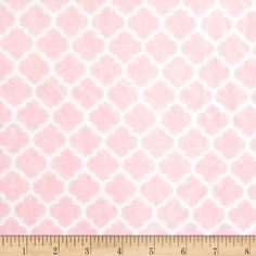 Minky Cuddle Romance Lattice Blush from @fabricdotcom  This extremely soft and cuddly fabric has a smooth minky surface with a quatrefoil print, 3 mm pile, 380 grams and is perfect for creating stuffed animals, baby accessories, blankets, throws, pillows and more! Colors include blush and white.