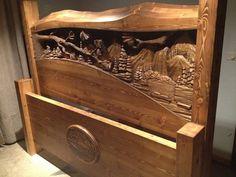 headboard, hand carv, woodcarv