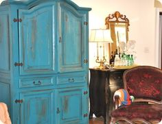 Peacock Blue Painted Armoire by Life on Grace, using Centsational Girl's French paint technique
