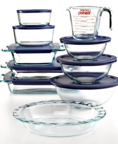 Pyrex Food Storage Containers, 18 Piece Bake and Prep Set - Bakeware - Kitchen - Macy's Bridal and Wedding Registry