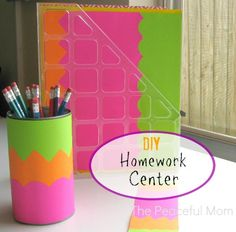 #BacktoSchool DIY Homework Center - Make this fun and colorful homework center with your child. Find details at ThePeacefulMom.com  #spon
