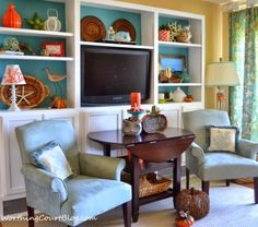 Beach Condo Makeover in Blue and Orange (with Fall Decorations): http://beachblissliving.com/blue-and-orange-fall-decor/