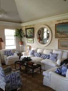 White Linen, Sisal, and Blue Cotton Prints, by Lyford Kay Designer Amanda Londroth.