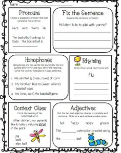 Daily Spiral Review for Second Grade--great for morning work---FREE sample page--click on preview for your freebie---pronouns, homophones, rhyming, adjectives, context clues, and so much more