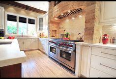 stove, kitchen idea, mediterranean kitchen, range hoods, stone, los angeles, white cabinets, kitchen designs, dream kitchens