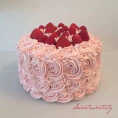 Vanilla cake with natural strawberry buttercream! No artificial food coloring.