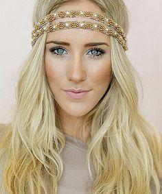 Taupe Double-Strap Beaded Headband