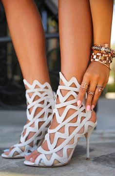 Sophia Webster White Rock Suede Mesh Insert heeled Sandals  by Vivaluxury