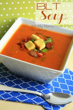 BLT Soup - All the flavors of your favorite bacon, lettuce, and tomato sandwich in soup form! This is perfect for a busy weeknight or game day grub!