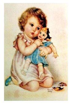 broken dolli, girl, vintage prints, art, children, card, baby prints, printabl, illustr