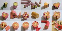 mini foods, tomato, art photography, cane, polym clay