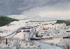 """Grandma Moses, """"Hoosick Falls in Winter,"""" Phillips Collection"""