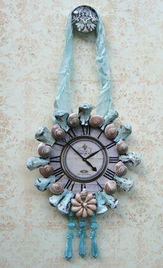 Vintage Clock Face, OOAK, French Clock Decorative Ornament, Shabby Beach Cottage Chic, Chippy Aqua Framed Shell Clock,. $20.00, via Etsy.